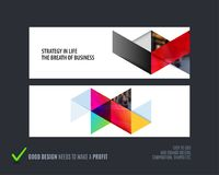 Abstract vector set of horizontal website banners with colourful triangles abstract shapes for web design. Royalty Free Stock Photography