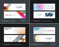 Abstract vector set of modern horizontal website banners. With colorful round circle blend effect, abstract lines for construction, teamwork, tech Royalty Free Stock Image