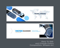 Abstract vector set of modern horizontal website banners with co. Abstract vector set of modern horizontal website banners with blue rounded rectangles, arrows Royalty Free Stock Photography