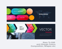 Abstract vector set of modern horizontal website banners with co. Lourful rounded rectangles, arrows for construction, teamwork, tech, communication. Clean web stock illustration