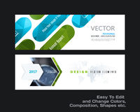 Abstract vector set of modern horizontal website banners with co. Abstract vector set of modern horizontal website banners with green rounded rectangles, arrows royalty free illustration