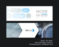 Abstract vector set of modern horizontal website banners with co. Abstract vector set of modern horizontal website banners with grey rounded rectangles, arrows Stock Photo