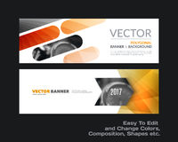 Abstract vector set of modern horizontal website banners with co. Abstract vector set of modern horizontal website banners with yellow rounded rectangles, arrows stock illustration
