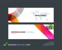 Abstract vector set of modern horizontal website banners. With colorful round circle blend effect, abstract lines for construction, teamwork, tech Stock Images