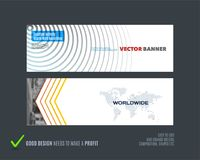 Abstract vector set of modern horizontal website banners. With colorful round circle blend effect, abstract lines for construction, teamwork, tech Stock Image