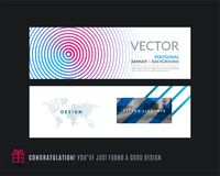 Abstract vector set of modern horizontal website banners. With colorful round circle blend effect, abstract lines for construction, teamwork, tech Stock Photography