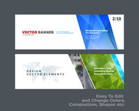Abstract vector set of modern horizontal website banners with colourful diagonal triangular shapes. For construction, teamwork, tech, communication. Clean web Royalty Free Stock Photos