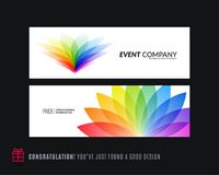 Abstract vector set of horizontal website banners with colourful flowers abstract shapes for web design. Abstract vector set of modern horizontal website Royalty Free Stock Image