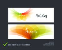 Abstract vector set of horizontal website banners with colourful flowers abstract shapes for web design. Abstract vector set of modern horizontal website Royalty Free Illustration