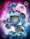 Abstract vector shiny background with speakers. Stock Photos
