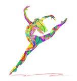 Abstract vector silhouette dancing girl. Vector silhouette dancing girl on white background Stock Photos