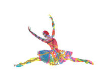 Abstract vector silhouette dancing girl. Vector silhouette dancing girl on white background Royalty Free Stock Photo