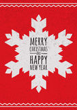 Abstract vector snowflake on red grunge background. Christmas or Royalty Free Stock Photo