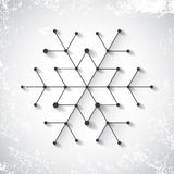 Abstract vector snowflake with winter snow grunge background. Royalty Free Stock Image