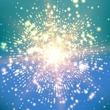 Abstract vector space background. Explosion of glowing particles and light rays. Futuristic technology style. Elegant background for business presentations or Stock Images