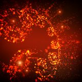 Abstract vector space background. Explosion of glowing particles and light rays. Futuristic technology style. Elegant background for business presentations or Royalty Free Stock Image