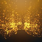Abstract vector space background. Explosion of glowing particles and light rays. Futuristic technology style. Elegant background for business presentations or Royalty Free Stock Images