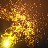 Abstract vector space background. Explosion of glowing particles and light rays. Futuristic technology style. Elegant background for business presentations or Stock Photos