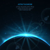 Abstract vector space fantastic background with planet and rising star Stock Images