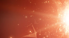 Abstract vector space red background. Chaotically connected points and polygons flying in space. Flying debris. Royalty Free Stock Image