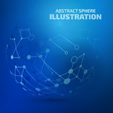Abstract vector sphere. Digital blue lines. Color technology sphere illustration. Modern glowing shape design with glow point. 3d connection Stock Images