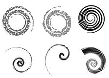 Abstract vector spiral elements, radial geometric striped patterns. Isolated, on white background stock illustration