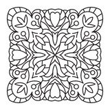 Abstract vector square lace design in mono line style - backgrou Royalty Free Stock Image