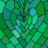 Abstract vector stained-glass mosaic background. Green and blue heart Stock Photo