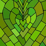 Abstract vector stained-glass mosaic background. Green and brown heart vector illustration