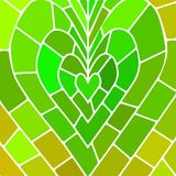 Abstract vector stained-glass mosaic background. Green heart Stock Photos