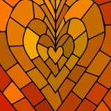 Abstract vector stained-glass mosaic background. Orange heart Stock Photo