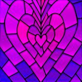 Abstract vector stained-glass mosaic background. Purple heart Stock Photo