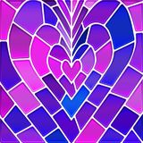 Abstract vector stained-glass mosaic background. Violet heart Stock Image