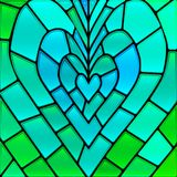 Abstract vector stained-glass mosaic background. Blue and green heart stock illustration