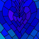 Abstract vector stained-glass mosaic background. Blue heart Stock Photo