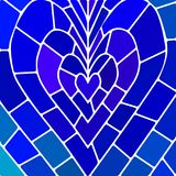 Abstract vector stained-glass mosaic background. Blue heart Royalty Free Stock Photography