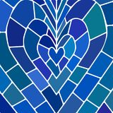 Abstract vector stained-glass mosaic background. Blue heart Royalty Free Stock Image
