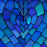 Abstract vector stained-glass mosaic background. Blue heart royalty free illustration