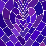 Abstract vector stained-glass mosaic background. Blue and violet heart Stock Images