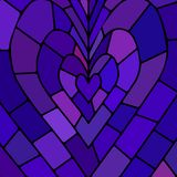 Abstract vector stained-glass mosaic background. Blue and violet heart stock illustration