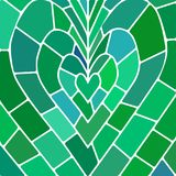 Abstract vector stained-glass mosaic background. Green and blue heart stock illustration