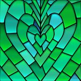 Abstract vector stained-glass mosaic background. Green and blue heart vector illustration
