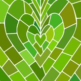 Abstract vector stained-glass mosaic background. Green and brown heart stock illustration