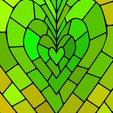 Abstract vector stained-glass mosaic background. Green heart Royalty Free Stock Images