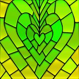 Abstract vector stained-glass mosaic background. Green and yellow heart Stock Images