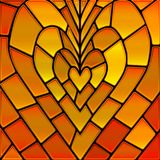 Abstract vector stained-glass mosaic background. Orange heart stock illustration