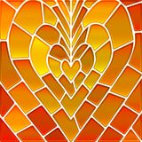 Abstract vector stained-glass mosaic background. Orange heart Royalty Free Stock Image