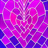 Abstract vector stained-glass mosaic background. Purple heart Stock Photography