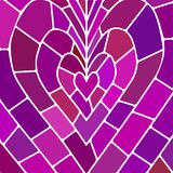 Abstract vector stained-glass mosaic background. Purple and violet heart Stock Photos