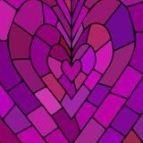 Abstract vector stained-glass mosaic background. Purple and violet heart vector illustration